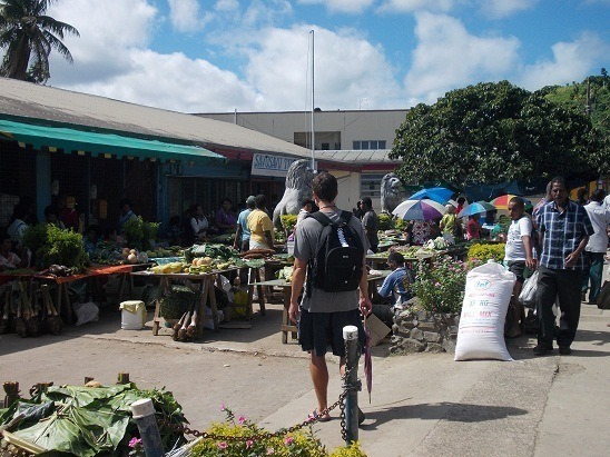 Guess who's going to market? Me, ready to pick up our customary bananas, peppers and tomatoes in Savusavu, Fiji.
