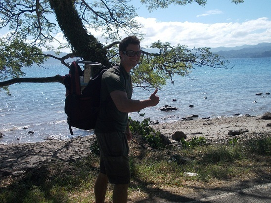 Me keeping fit in paradise. I carried this empty propane tank 2 miles into town and a full tank 50 meters up our driveway....which has a 20%, quad-popping, hamstring-overloading grade.