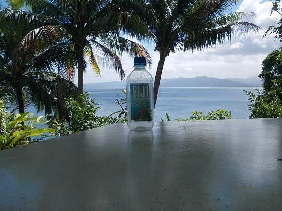 Hydrating in Savusavu. Yes, my US friends, Fiji water is much less expensive here.