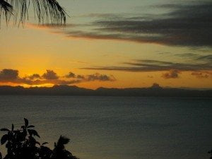 Fiji sunset from the front deck. I was not freaked out when snapping this shot.