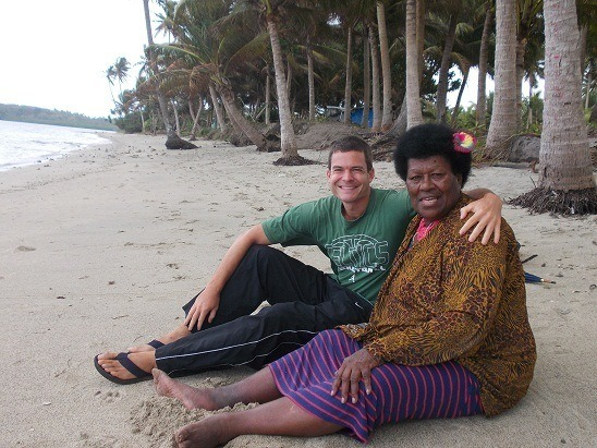 Olivia and I on the beach in her village of Naginagi, Fiji.