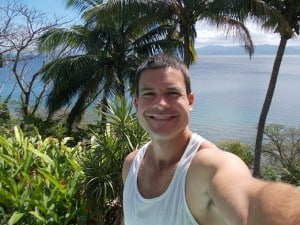 Me overlooking the bay from the deck in Savusavu, Fiji. Yep, this is my home office for now.