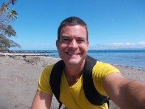 Why wouldn't you like this guy? Me on the black sand beaches of Savusavu, Fiji.