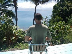 The uh....ahem....home office. Savusavu, Fiji style.