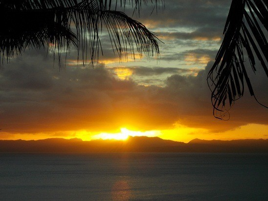 I snapped this stunning  Savusavu, Fiji sunset photo from the front deck.