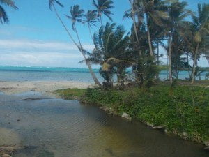 The beach at Nagigi, Fiji...and yes I snapped this photo through a dirty bus window. Stunningly beautiful and pristine.