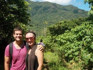 Me and Kelli in paradise, by Nakagawa Waterfall in Fiji. Jurassic Park-like scenery here.