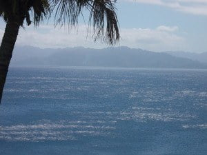 Stunning view of shimmering waters from our front porch in Savusavu, Fiji.