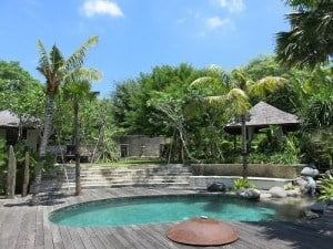 I do my laps in this pool every night. Well maybe not laps. But I swim a lot. Do you love the Bali blue skies?