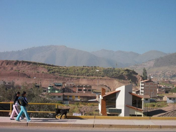 Stunning view of the Andes and that same muscular dog in Cusco, Peru. Blue skies some 2 miles above sea level.