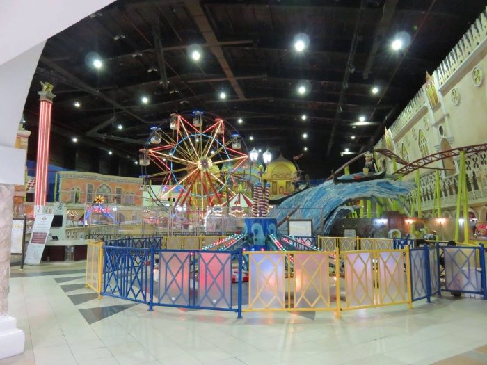 Just your average amusement park inside of a mall in Doha, Qatar. When temps reach 140 degrees F during summer time, you tend to build malls with 100 things to do inside. Air conditioning. Not doing nothing outside.
