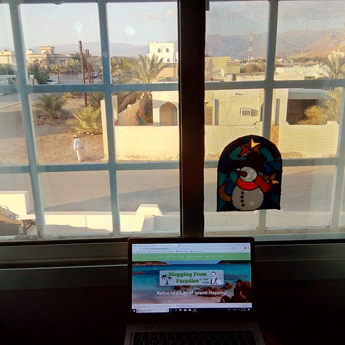 My home office in Niwa, Oman. Pretty chill vibe. note the tiny ZED Air lappy. I did away with the Chromebook after a connectivity issue.