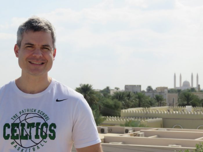 Me on the roof in Nizwa, Oman. Note the mosque in the background.